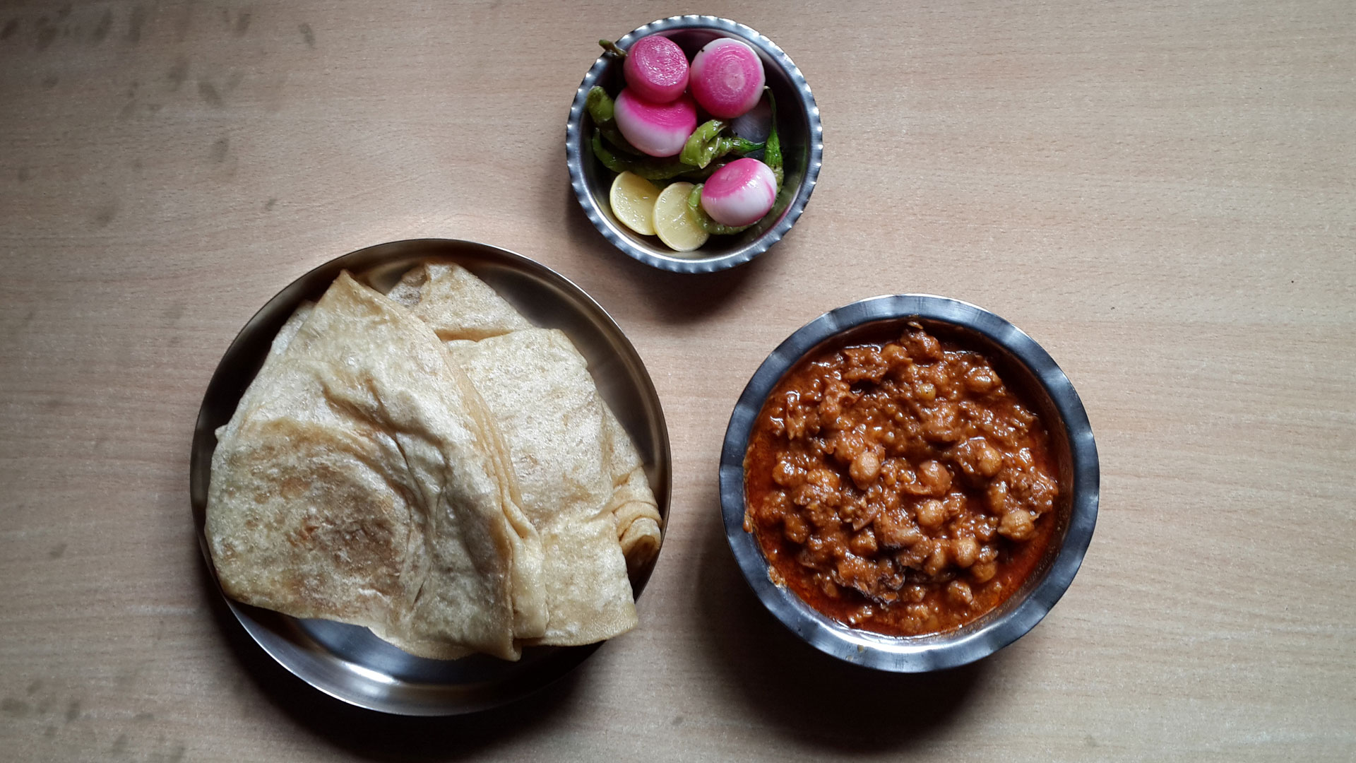 The famous chana puri from Havmor's in Ahmedabad
