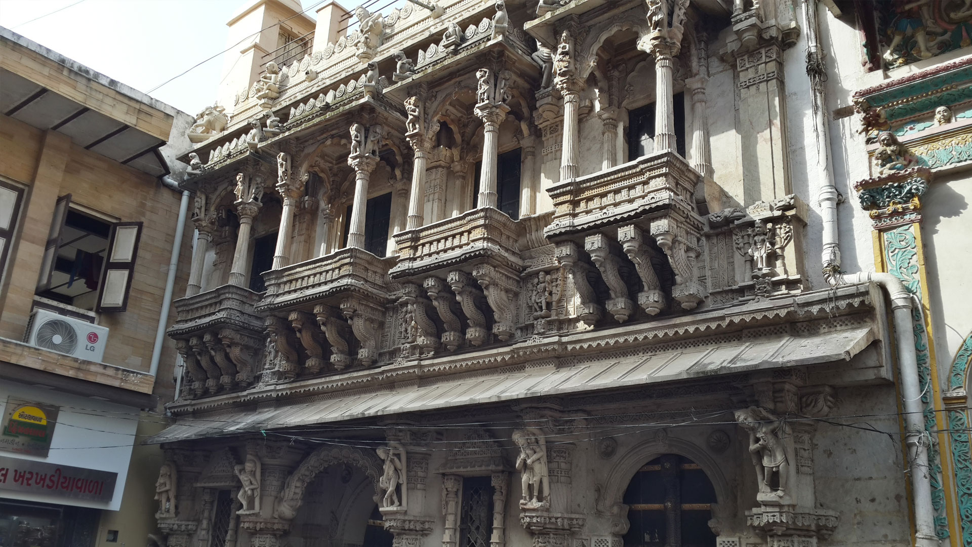 The facade of a Jain Temple in the old city of Ahmedabad