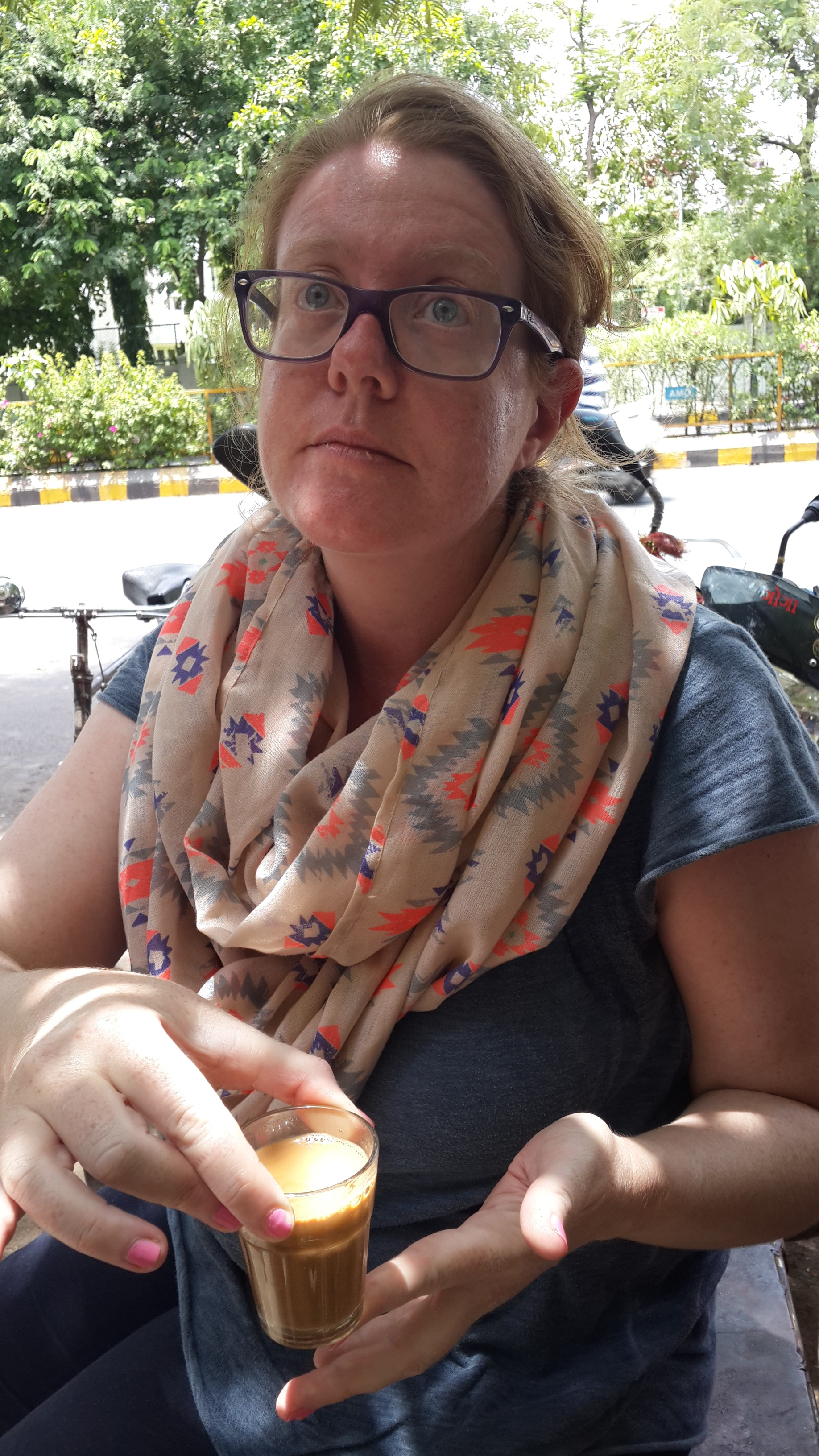 Sandra Henriques Gajjar drinking chai for the first time in Ahmedabad
