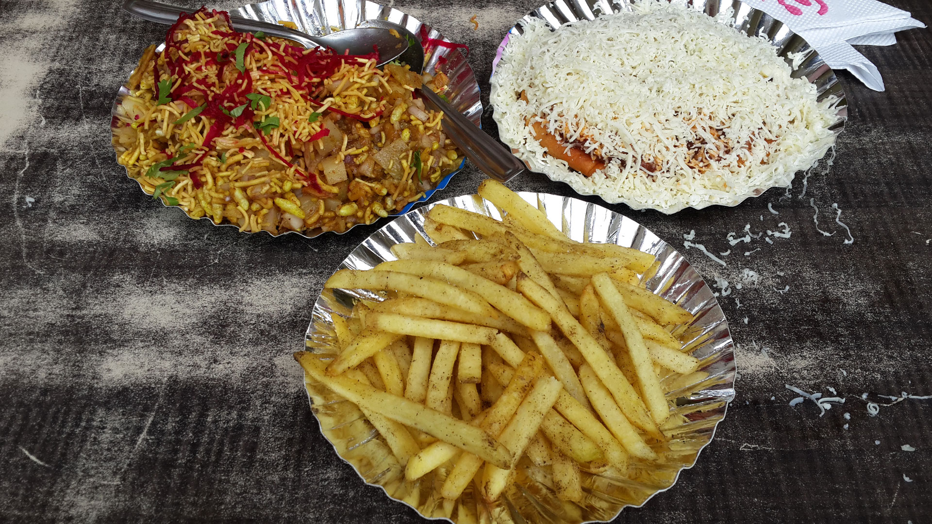 Different snacks at the Municipal Market in Ahmedabad