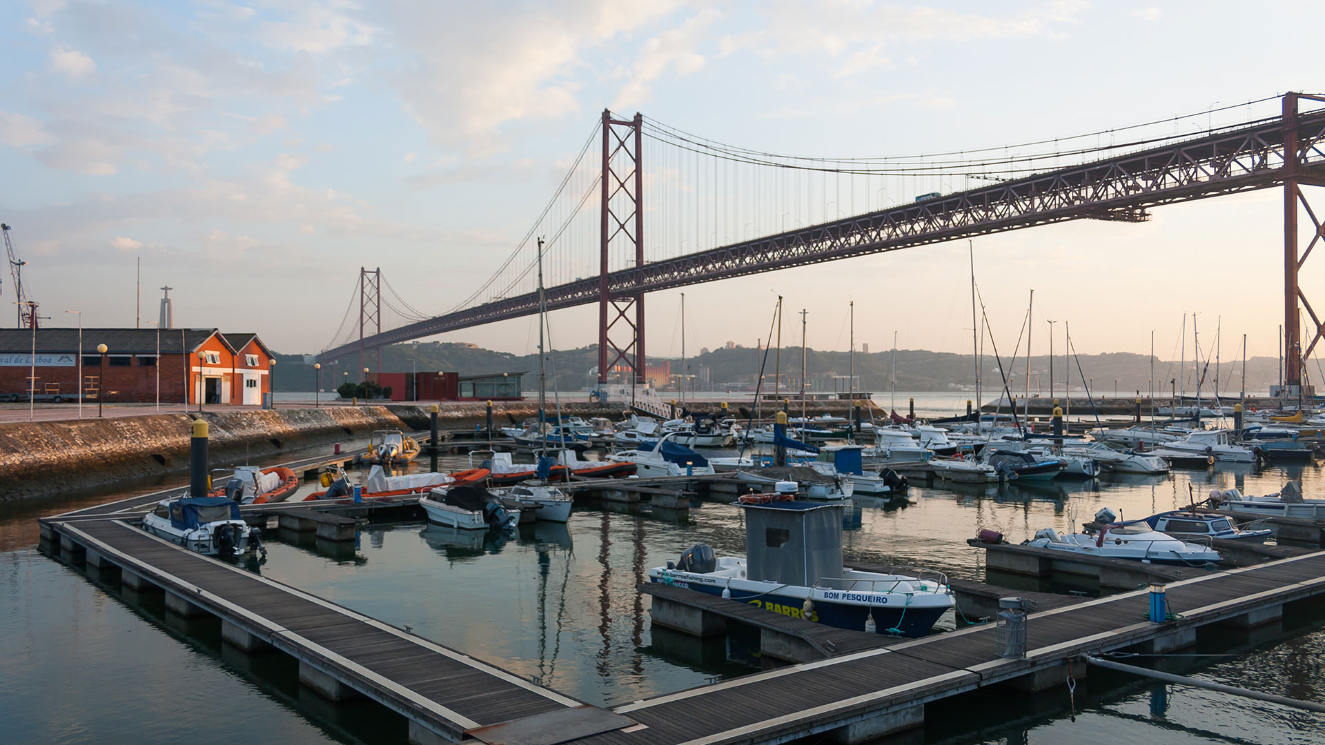 Bridge 25 of April (Ponte 25 de Abril) seen from Docas in Lisbon
