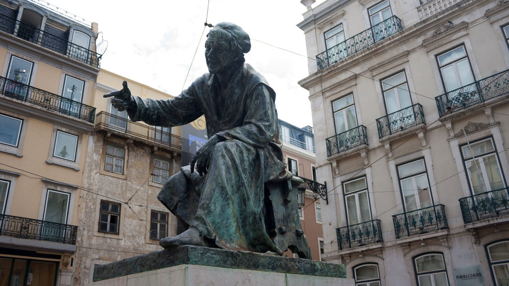 The statue of poet Antonio Ribeiro at Largo do Chiado in Lisbon