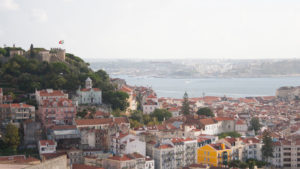 View over Lisbon buildings and castle from Senhora do Monte viewpoint
