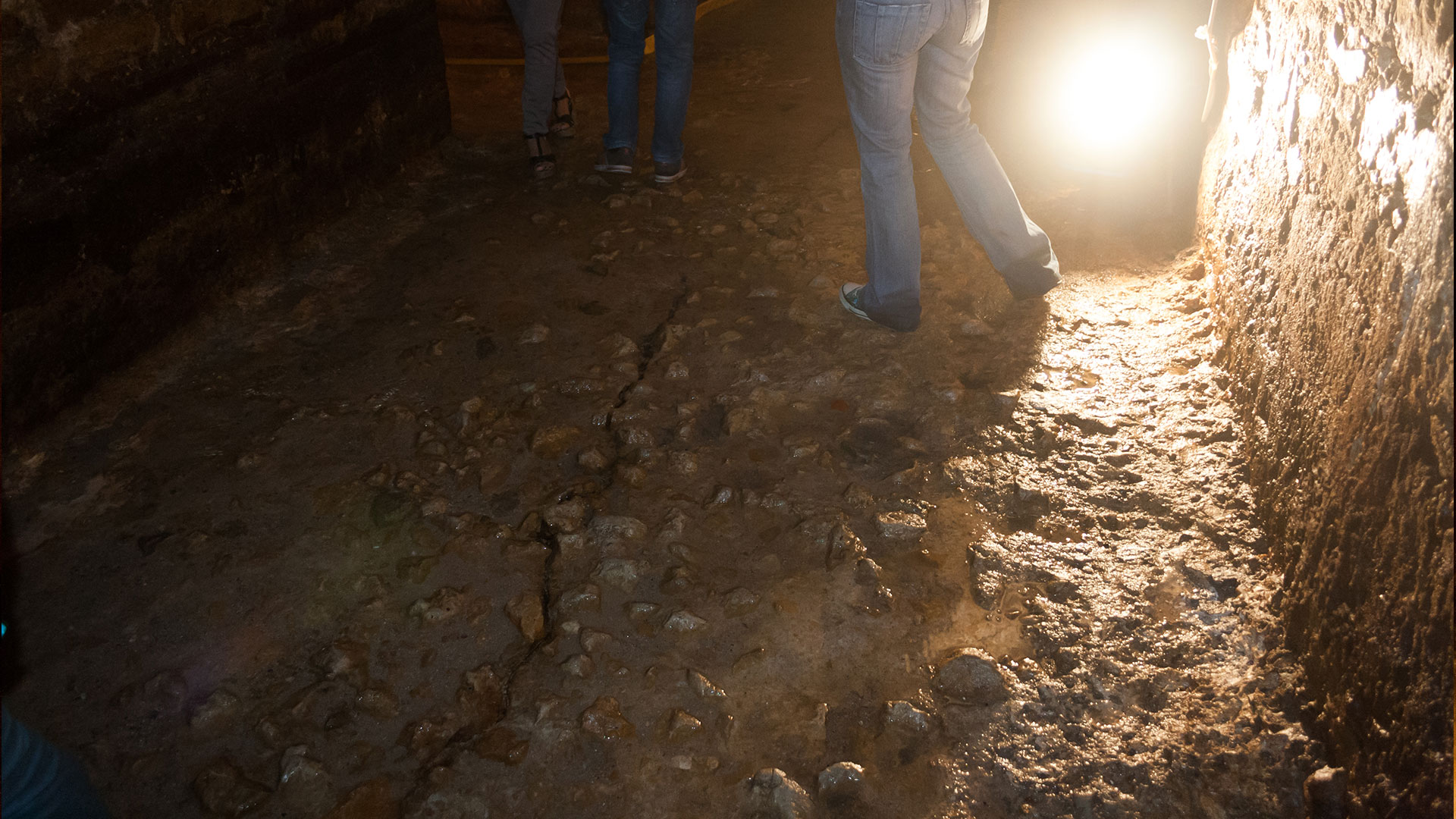 A crack on the ground that dates back to the 1755 Great Earthquake