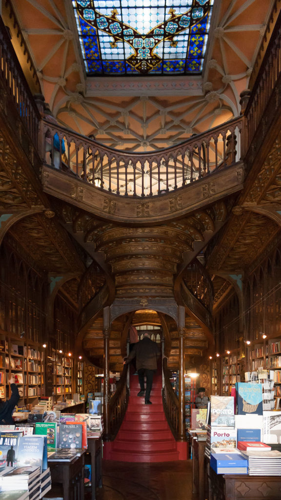 The famous staircase at Lello Bookstore in Porto