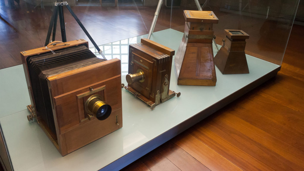 Old cameras on display at the Centro Portugues de Fotografia in Porto