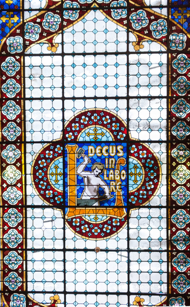 Stained glass skylight at Lello Bookstore in Porto