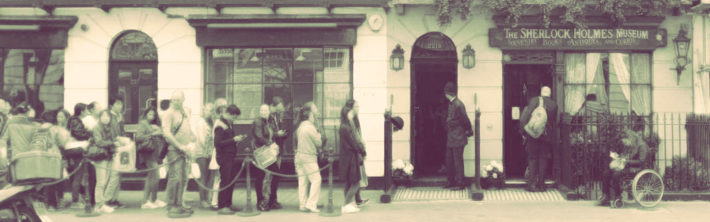 Queue outside the Sherlock Holmes Museum in London's Baker Street