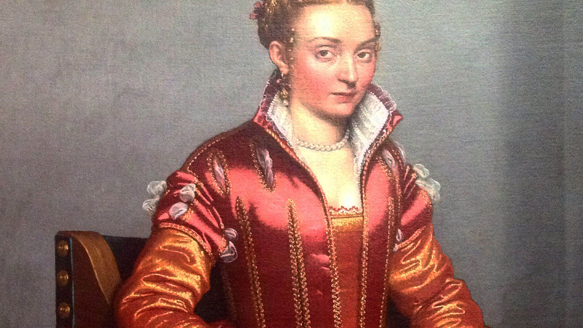 """Portrait of a Lady (La Dama in Rosso)"", Giovanni Battista Moroni, about 1556-60"