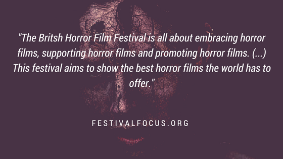 Graphic with quote about British Horror Film Festival