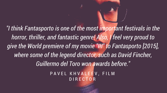 Graphic with quote by Pavel Khvaleev about Fantasporto