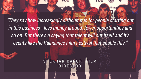 Graphic with quote about Raindance Film Festival