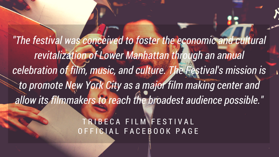 Graphic with quote about Tribeca Film Festival