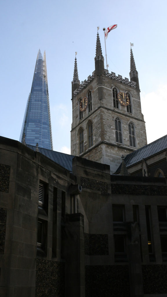 Southwark Cathedral with The Shard in the background
