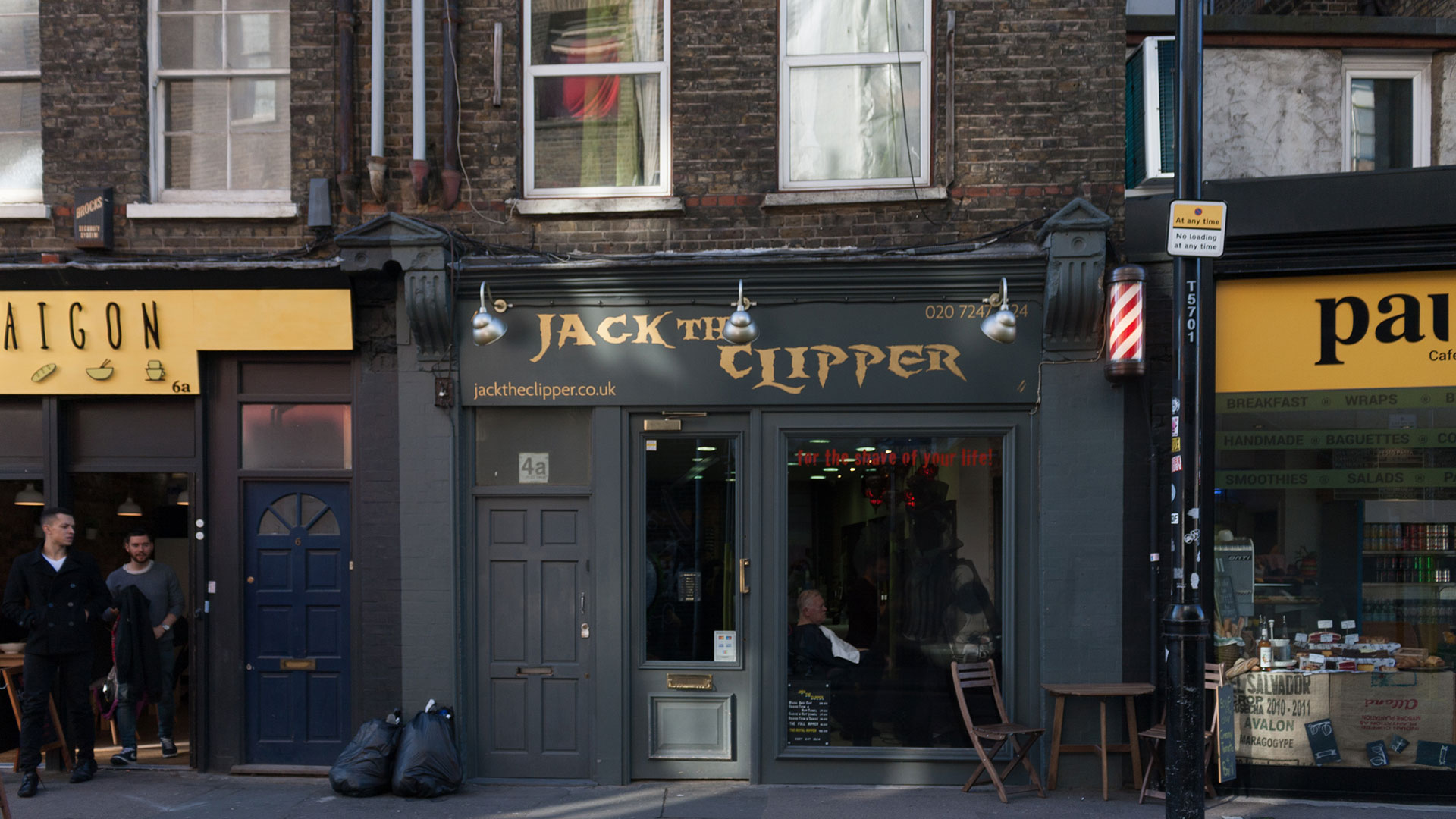 The facade of Jack the Clipper, a barbershop in Whitechapel, London