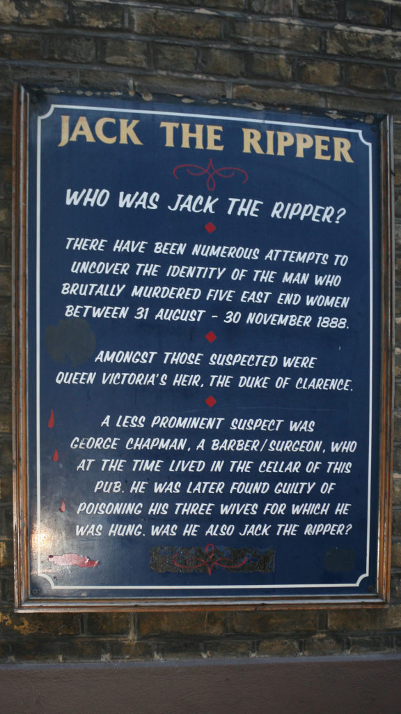 A plaque near one of the Jack the Ripper's murders locations in Whitechapel with some facts about him