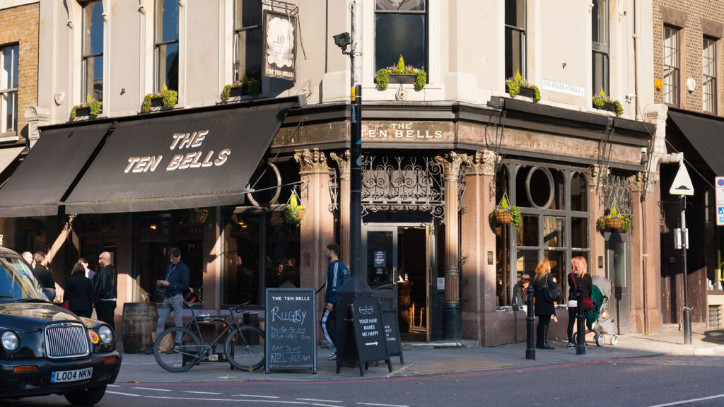 A photo of the Ten Bells Pub, a pub in Whitechapel frequented by Jack the Ripper