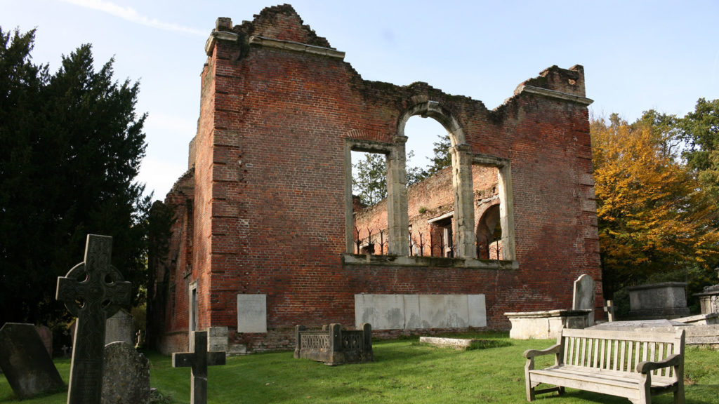 Ruins of the brick church in Stanmore, Greater London