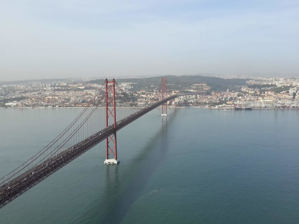 25 de Abril bridge and river Tagus seen from Cristo Rei viewpoint in Almada