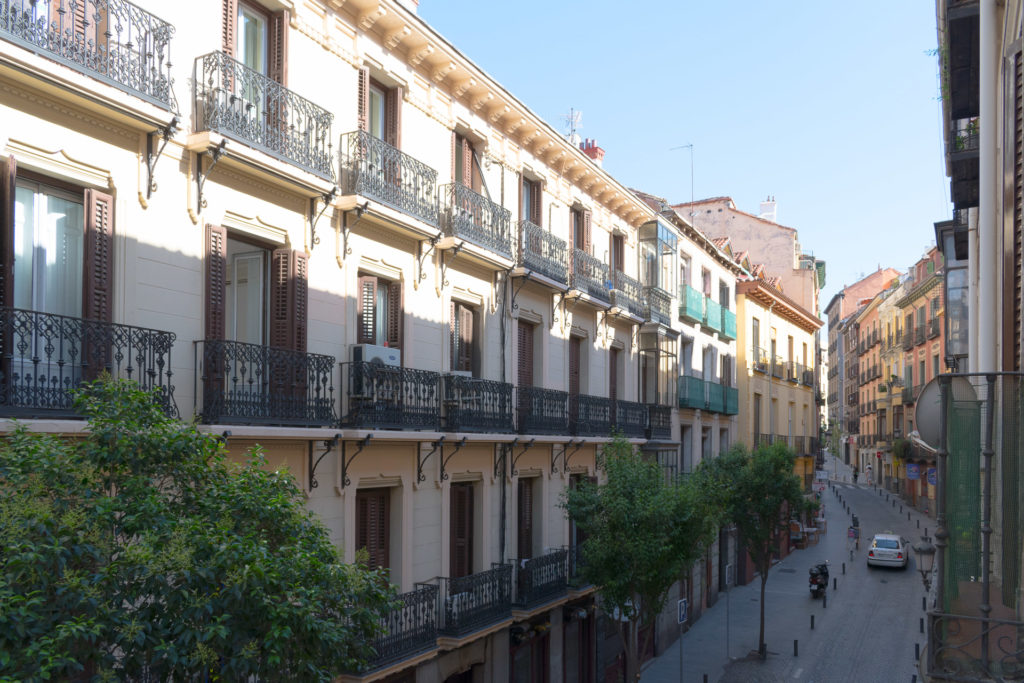 View to Calle de las Fuentes from our hotel room window at Room007 Select Sol Madrid