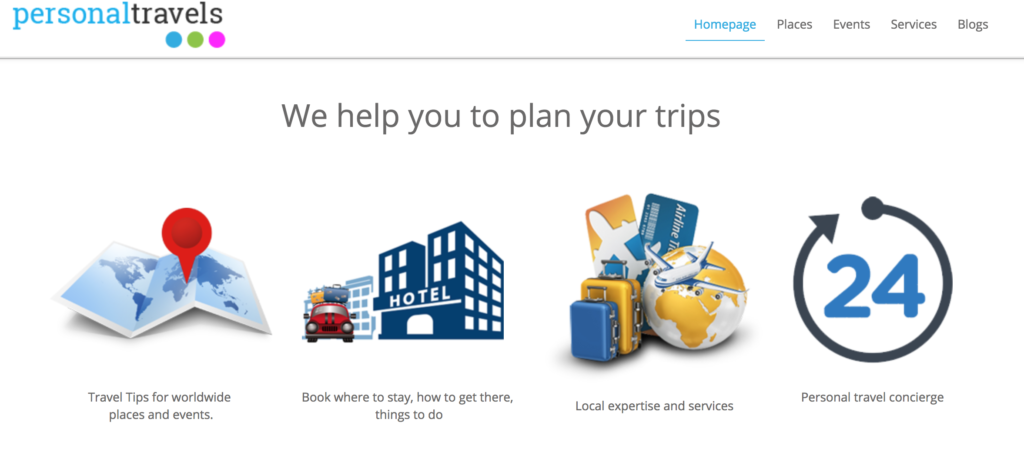 Screenshot of Personal Travels homepage