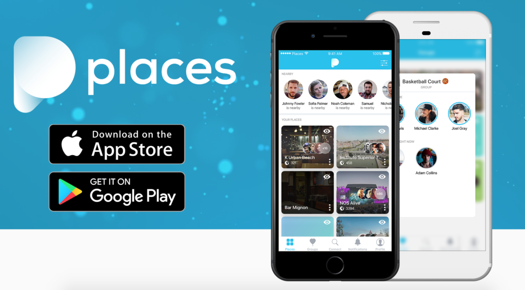Screenshot of Places website, a travel startup founded by College students in Portugal
