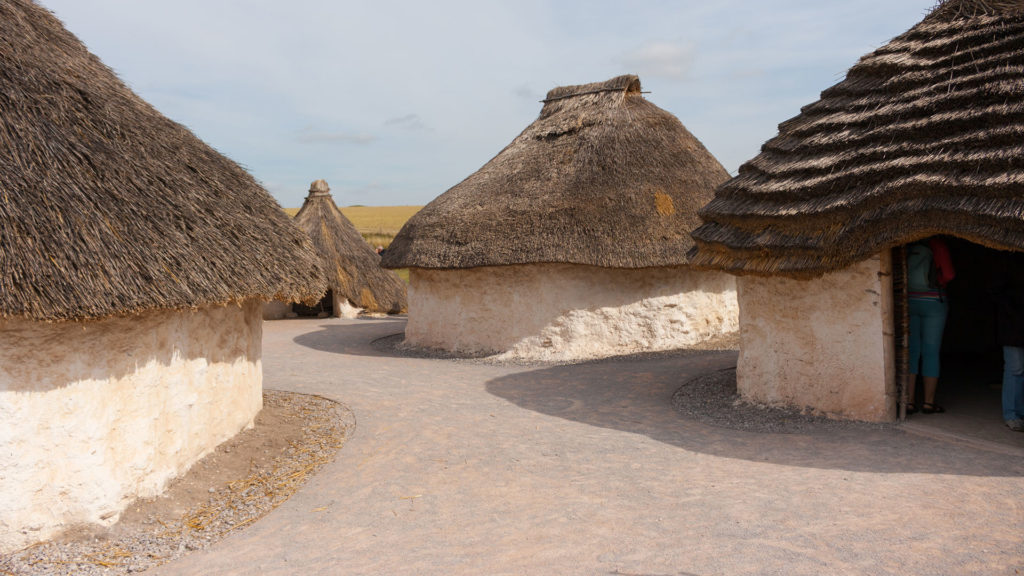 Replicas of Neolithic Houses near the visitor center at Stonehenge