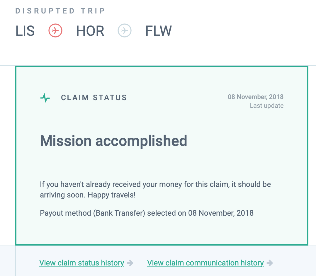 screenshot of AirHelp website showing claim compensation successful