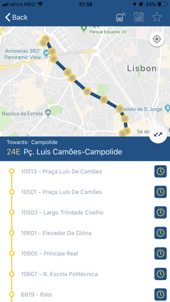 Free Lisbon apps for smartphones: carris screenshot