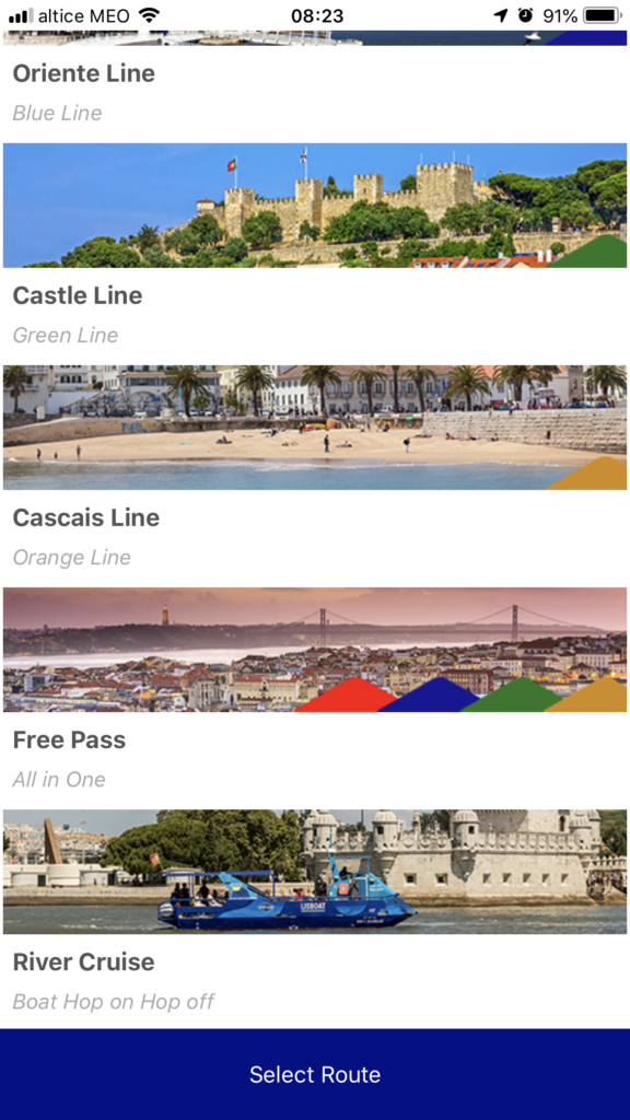 free Lisbon apps for smartphones: screenshot gray line pt
