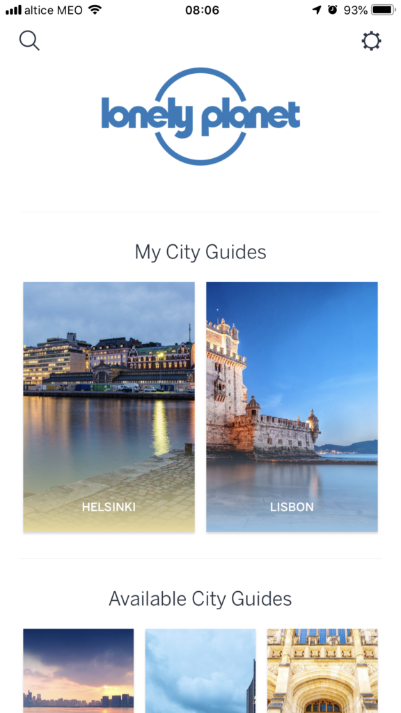 Free Lisbon apps for smartphones: lonely planet guides screenshot
