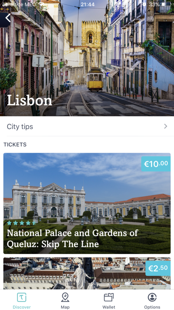 Free Lisbon apps for smartphones: tiqets screenshot