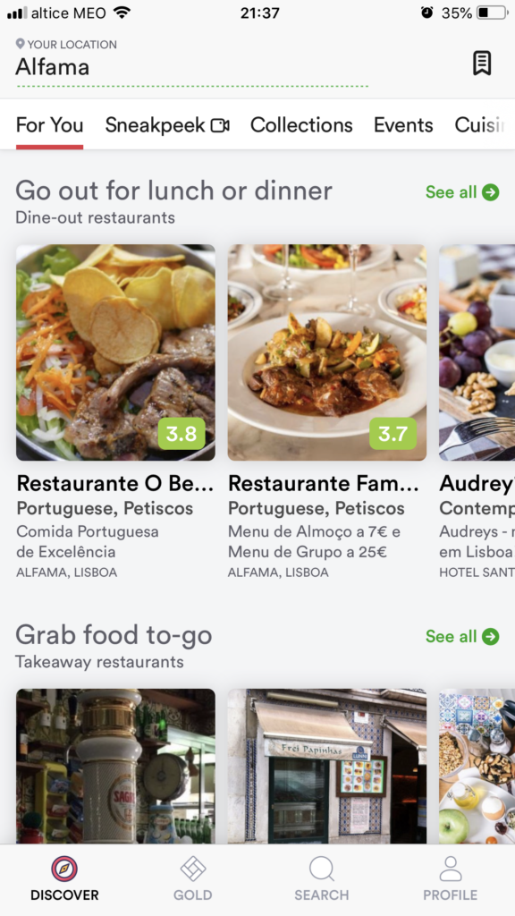 Free Lisbon apps for smartphones: Zomato screenshot